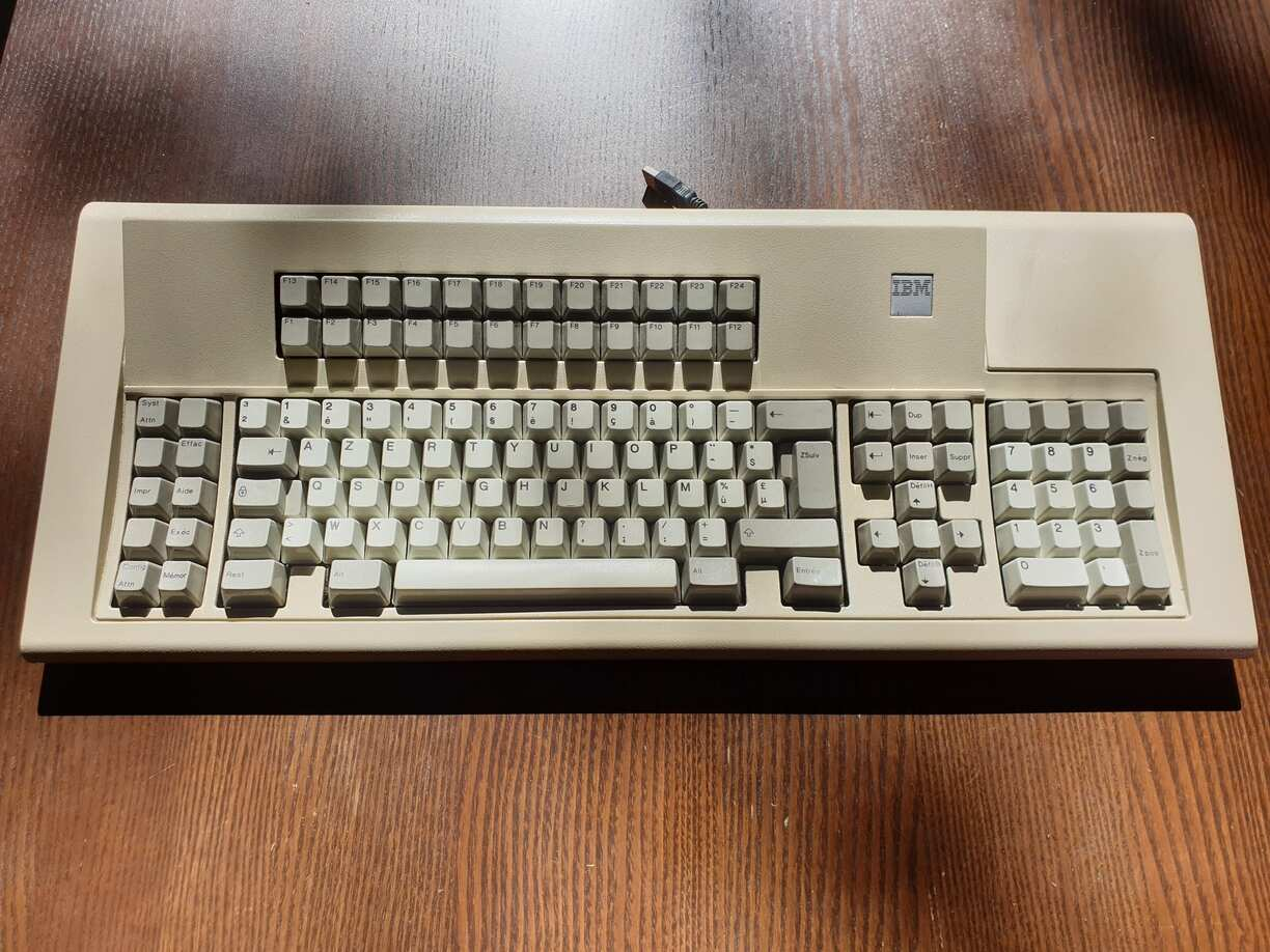 This is a very famous keyboard from the 80s with a different layout than what we are used to. It features keys from F1 to F24