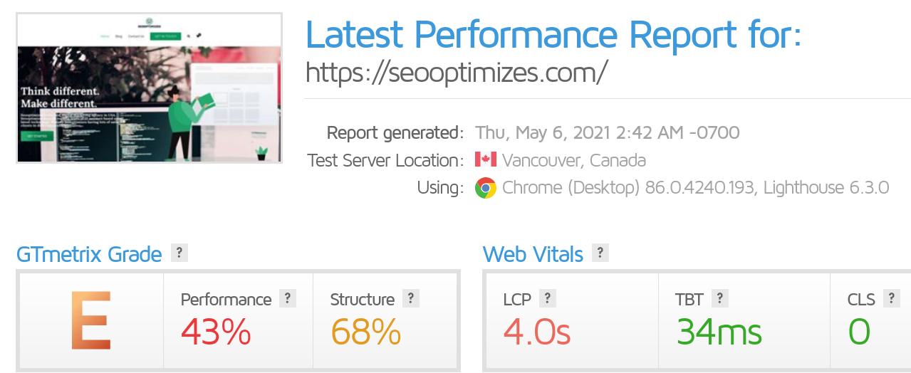 noté E, performance 43% et structure 68%