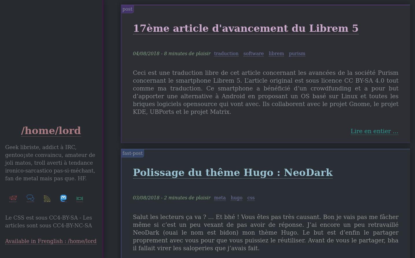 Très semblable au précédent, il y a désormais les icônes en SVG dans le menu de gauche et quelques couleurs supplémentaires sur les articles