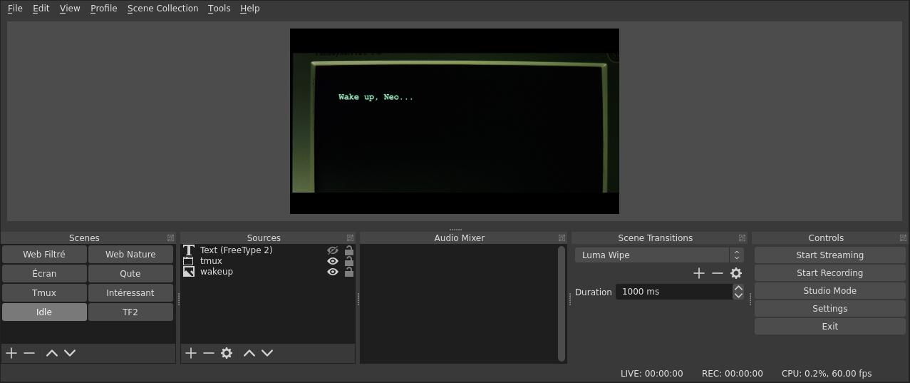 Capture d'écran du logiciel OBS