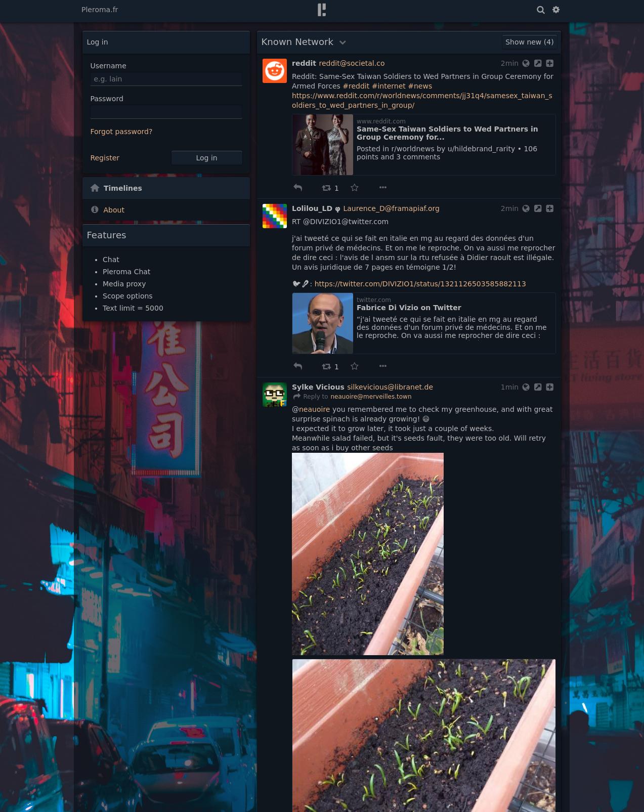 L'interface classique monocolonne de pleroma sur la timeline globale