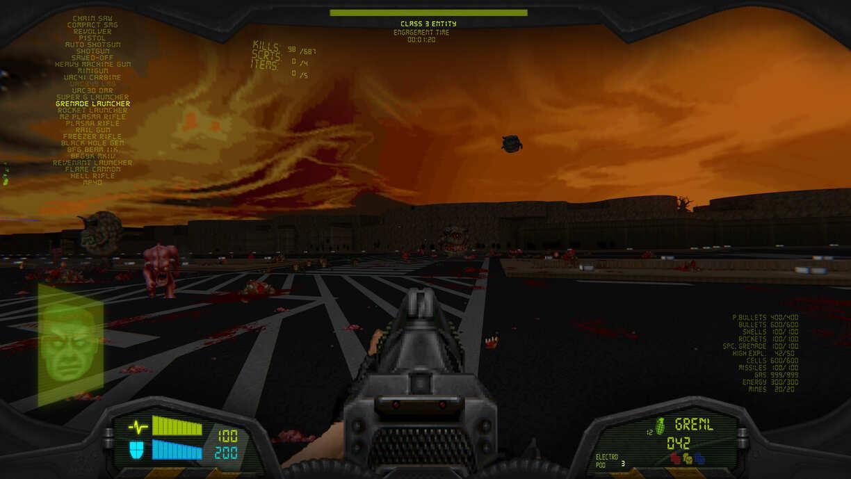 Capture d'écran d'une partie de Doom sur la map17 du mod Hellbound