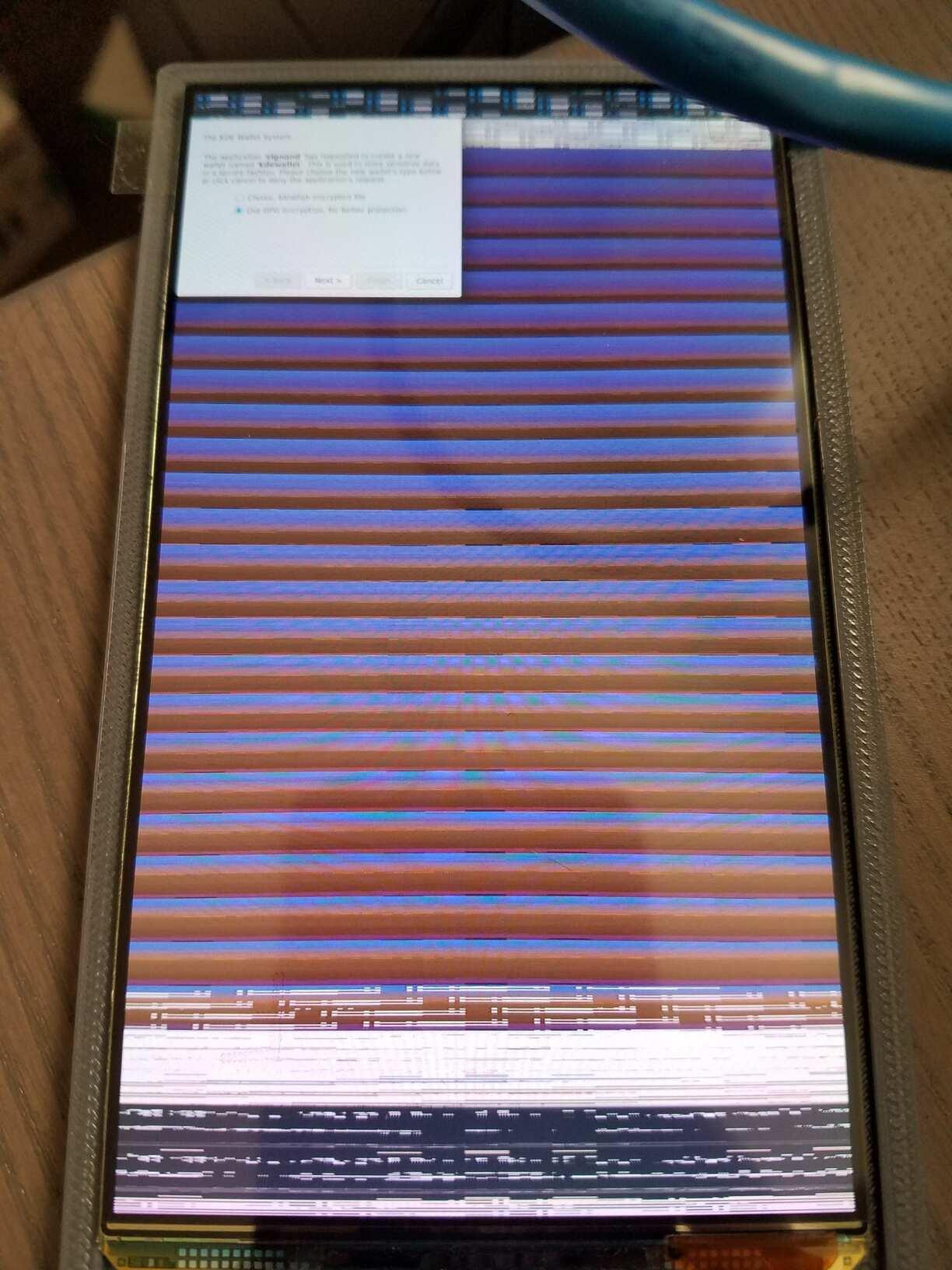 Photo de l'écran qui bug de partout.
