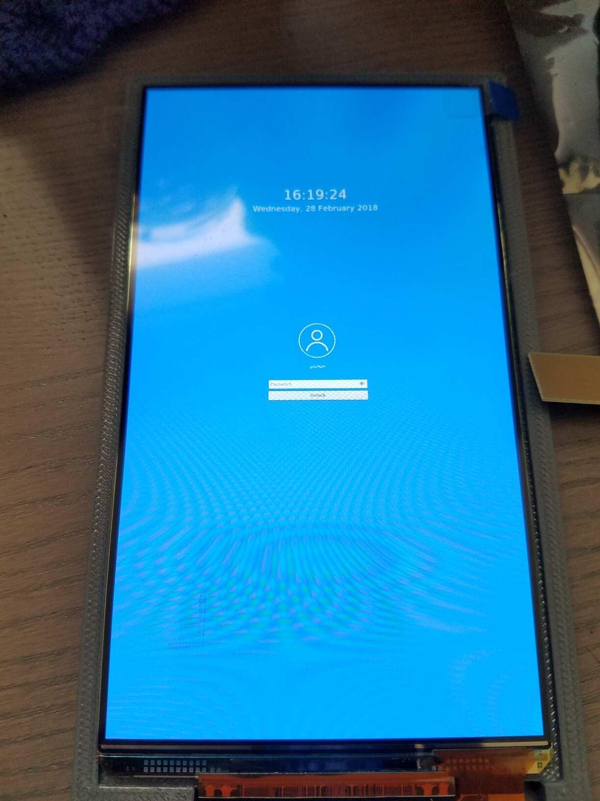 Capture d'écran de l'écran de verrouillage de Plasma Mobile