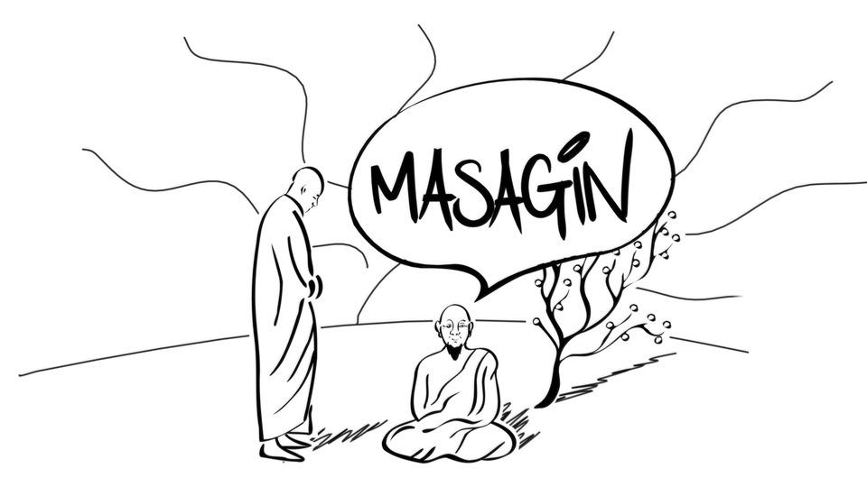 Capture d'écran on l'on voit deux moines bouddhistes en dessin stylisé