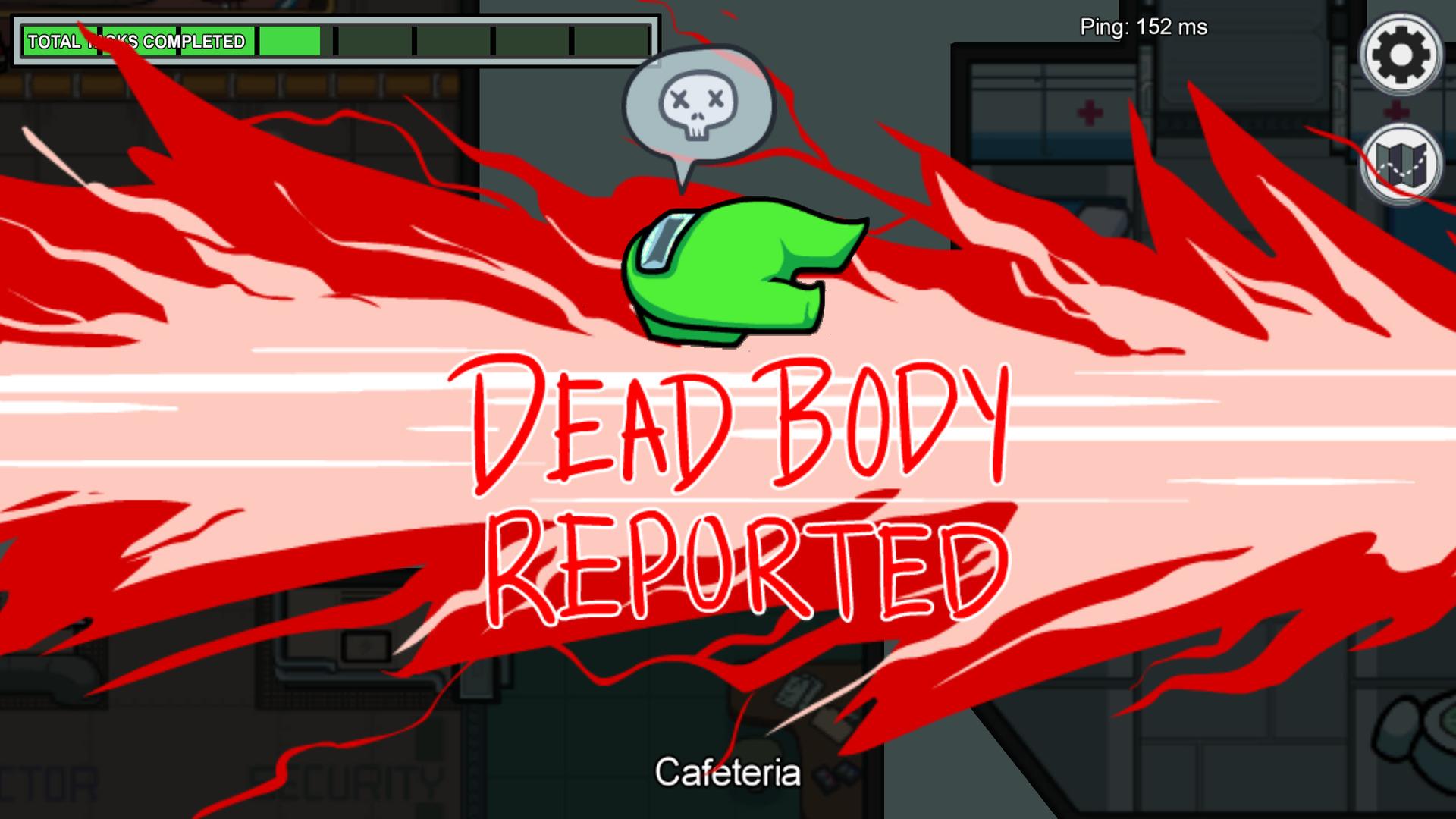 Un écran signale qu'un cadavre a été trouvé par un des membres et que l'on quitte la phase d'action pour passer à celle de discussion