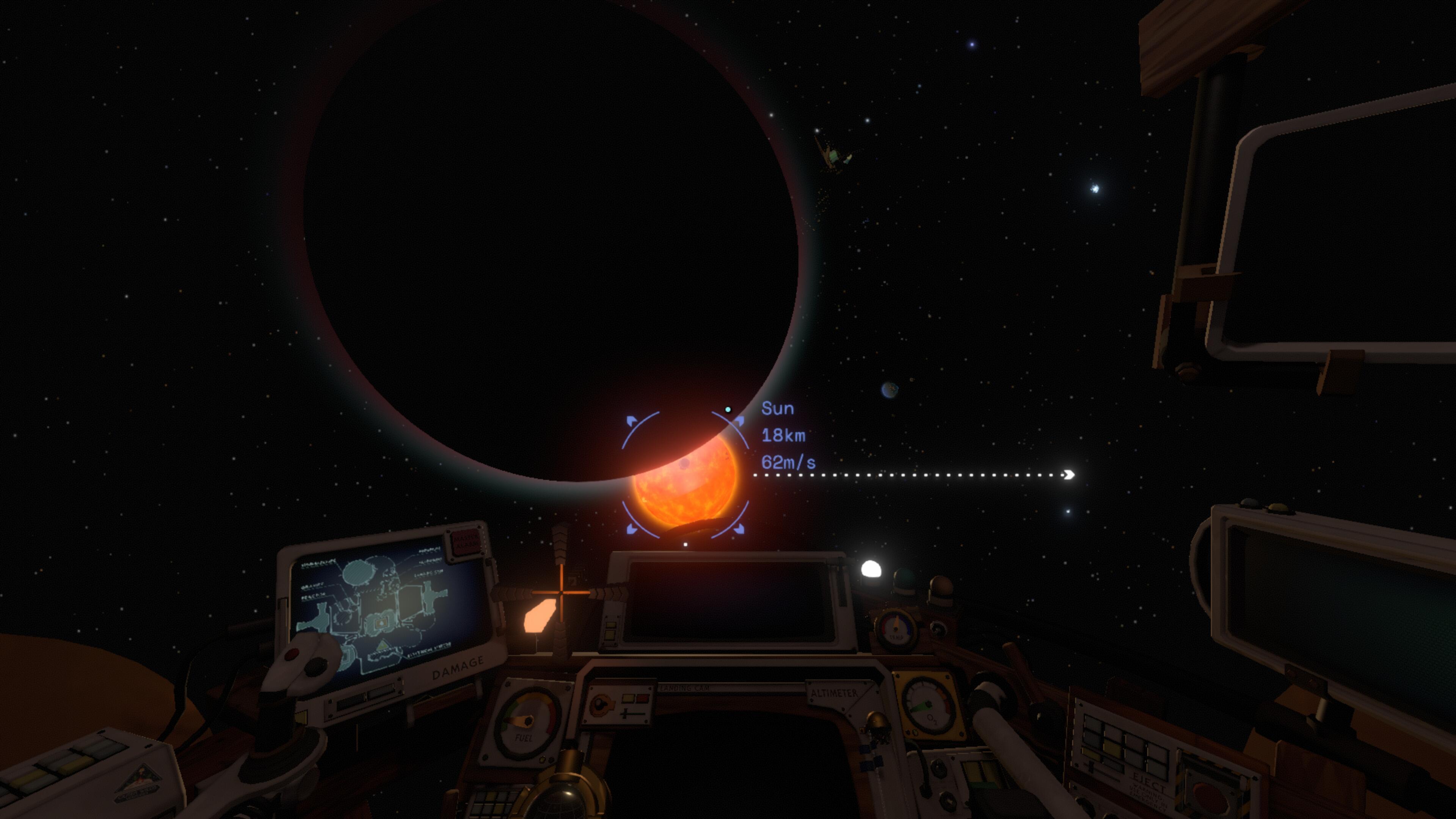 j'ai la planète en contre-jour et le soleil en face à 18km