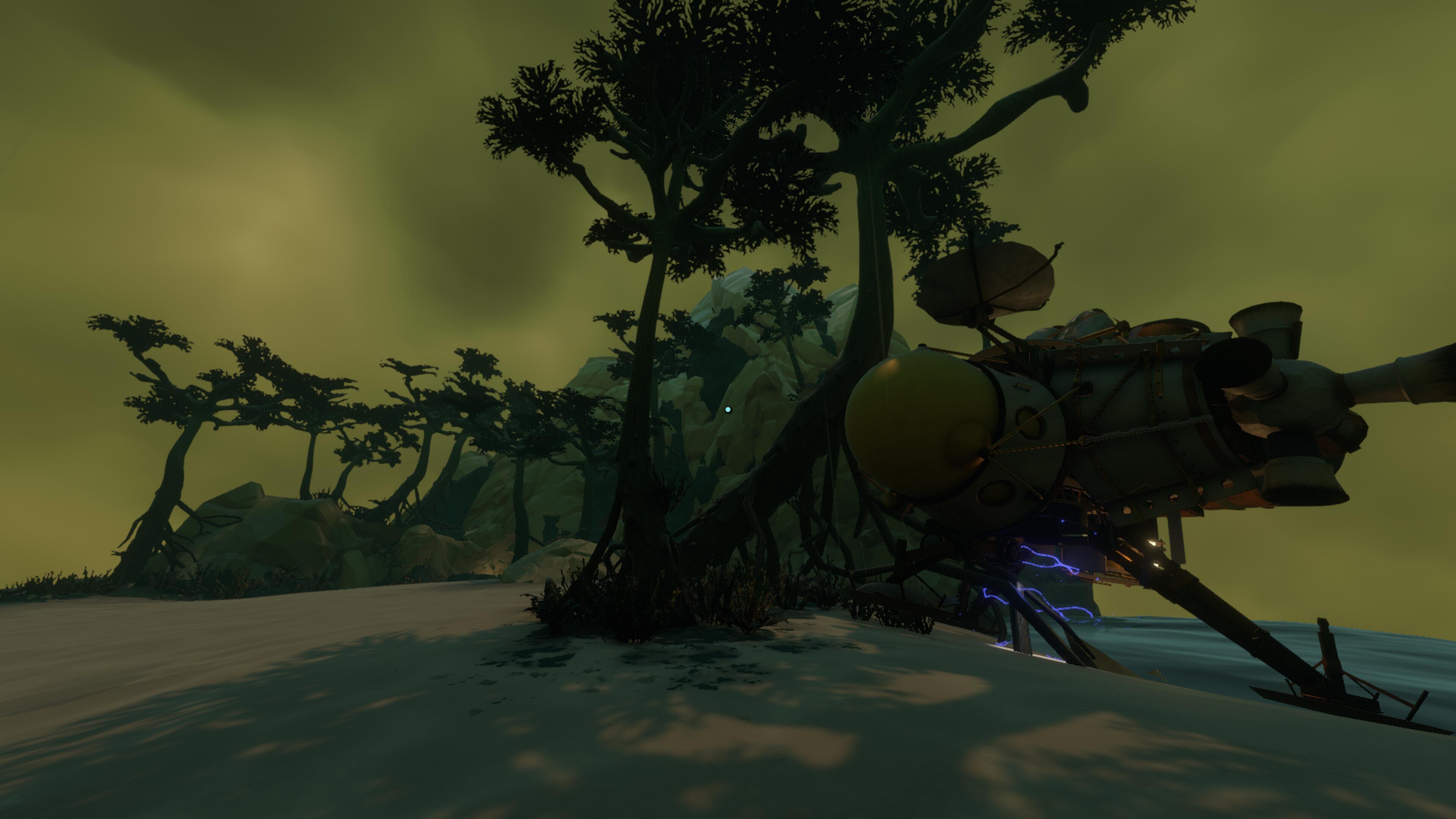 mon vaisseau touchant presque les arbres et une montagne dans le fond.