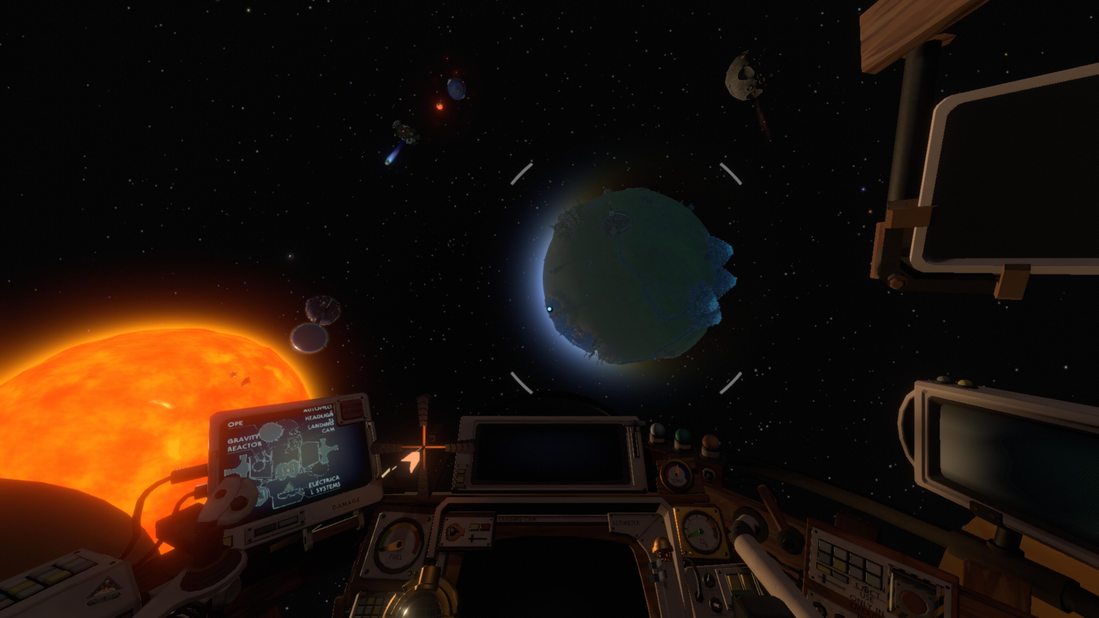le soleil, ses quelques planètes vu depuis mon cockpit et surtout ma planète natale avec encore ses montagnes visibles