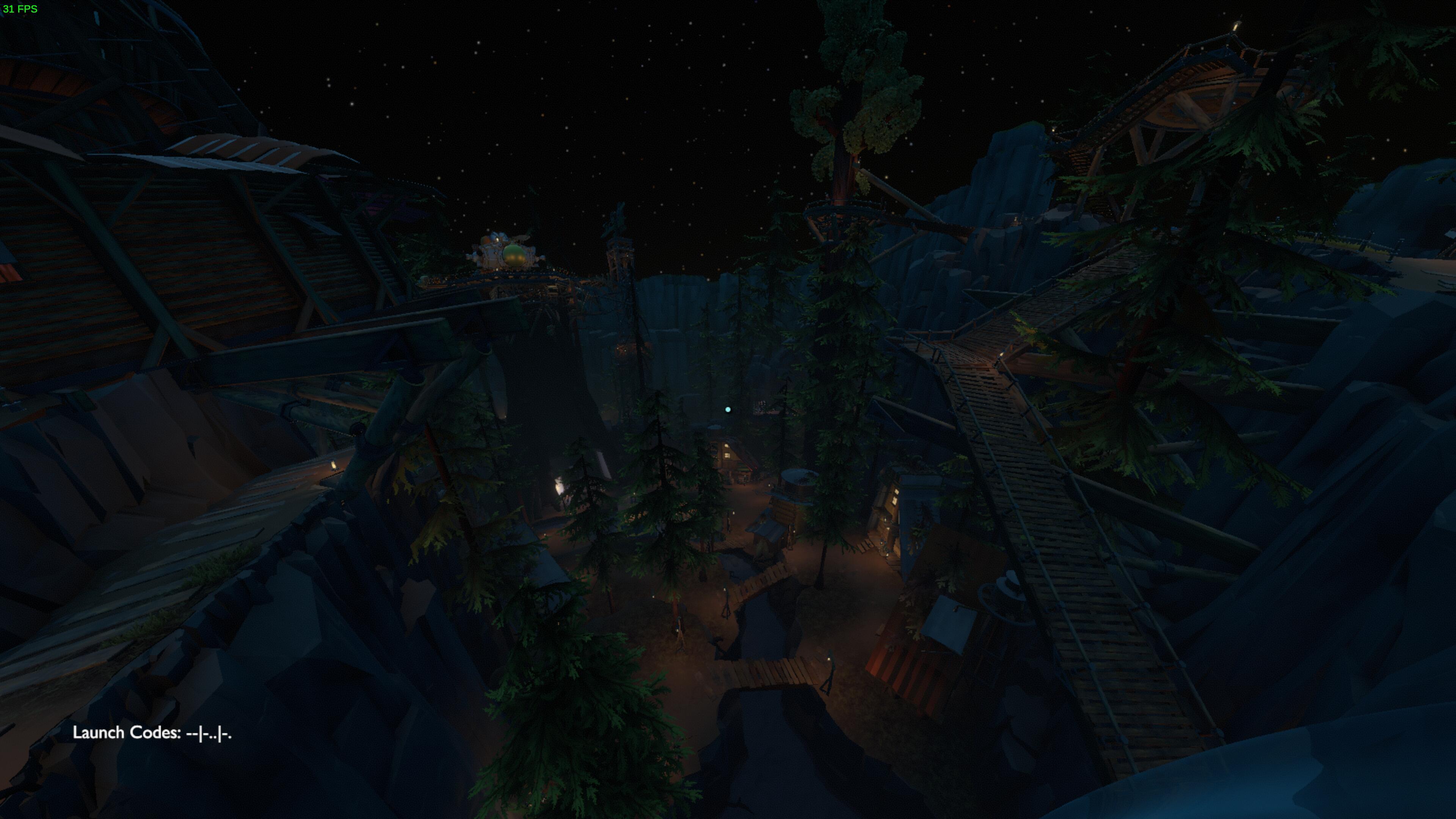 vue en hauteur du village avec ses arbres et ses cabanes
